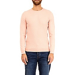 Burton - Pink patterned crew neck knitted  jumper