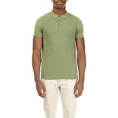 Burton - Green textured knitted polo shirt