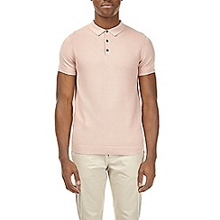 Burton - Pink textured knitted polo shirt
