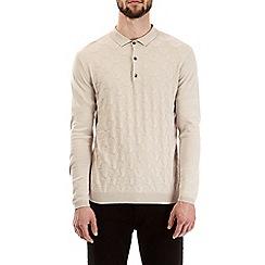 Burton - Cream ecru patterned knitted polo shirt
