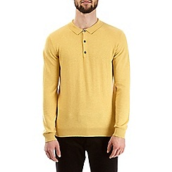 Burton - Yellow knitted polo shirt