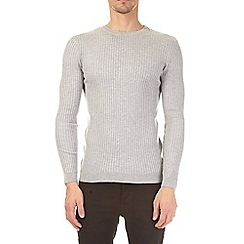 Burton - Grey muscle fit crew neck jumper