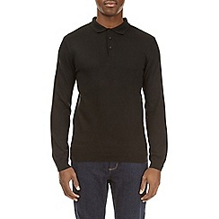 Burton - Black muscle fit knitted polo shirt