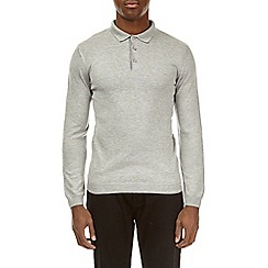 Burton - Grey muscle fit knitted polo shirt