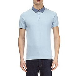 Burton - Blue woven knitted collar polo shirt
