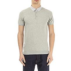 Burton - Grey woven collar knitted polo shirt