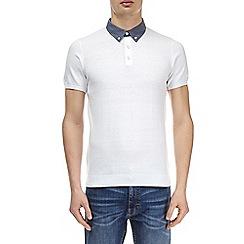 Burton - White woven knitted collar polo shirt