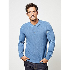 Burton - Blue textured polo shirt