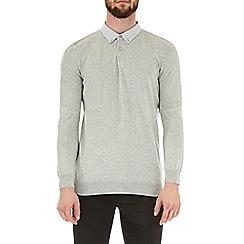 Burton - Grey woven collar long sleeve knitted polo shirt
