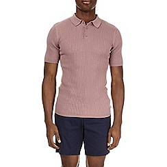 Burton - Pink muscle fit knitted polo shirt