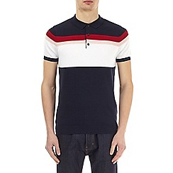 Burton - Navy striped knitted polo shirt