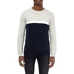 Burton - Navy colour block crew neck jumper