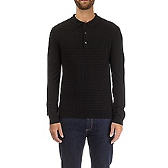 Burton - Black weave knitted polo shirt