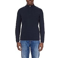 Burton - Navy zip neck jumper