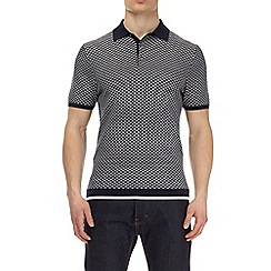 Burton - Navy wave knitted polo shirt
