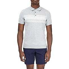Burton - Grey chest striped knitted polo shirt