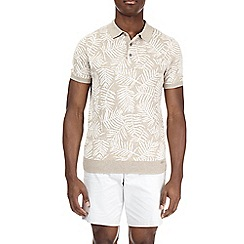Burton - Leaf print knitted polo shirt