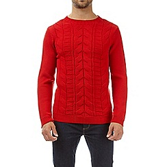Burton - Red cable knit crew neck jumper