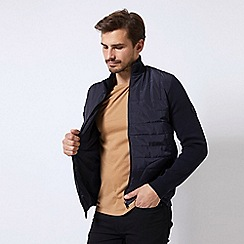 Burton - Navy Funnel Neck Knitted Jacket
