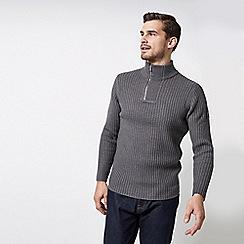 Burton - Grey Ribbed Zip Neck Jumper