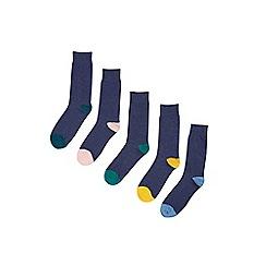 Burton - 5 pack navy contrast heel and toe socks