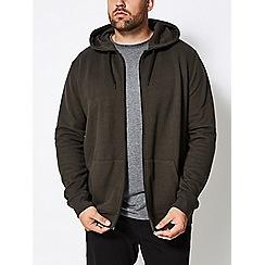 Burton - Big and tall khaki zip through hoodie jacket