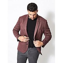 Burton - Big & tall burgundy jersey blazer
