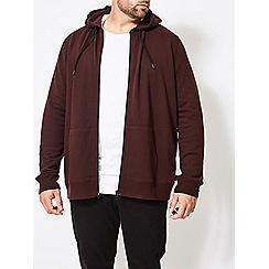 Burton - Big and tall burgundy zip through hoodie jacket