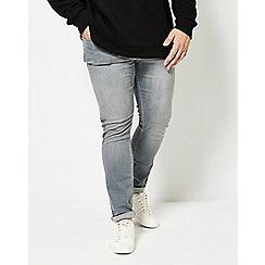 Burton - Big & tall grey washed skinny fit jeans
