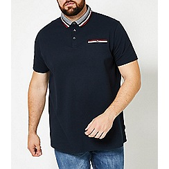 Burton - Big & tall navy tri-tip collar popcorn polo shirt
