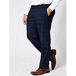 Burton - Big and tall navy regular fit checked trousers