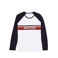 Burton - Big & tall navy and white untitled long sleeve raglan t-shirt