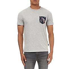 Burton - Grey floral pocket print t-shirt
