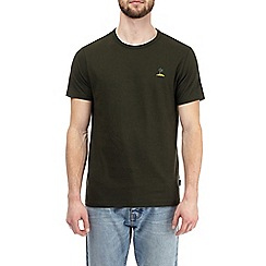 Burton - Khaki palm tree embroidered t-shirt