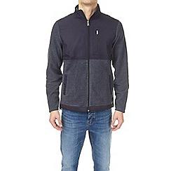 Burton - Navy funnel neck nylon panel fleece jacket