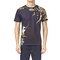 Burton - Navy and yellow floral placement printed t-shirt