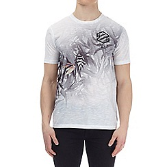 Burton - White floral print with left chest print t-shirt