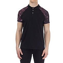 Burton - Black printed raglan polo shirt