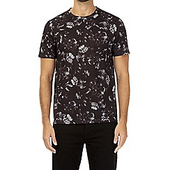 Burton - Black geometric and floral all-over pattern t-shirt
