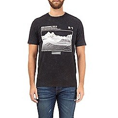 Burton - Black grid mountain print acid wash t-shirt
