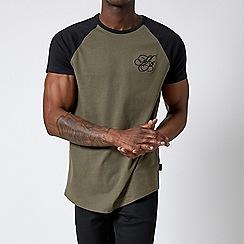 Burton - Black and khaki raglan t-shirt with mb embroidery