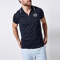 Burton - Navy zip neck hibuild print polo shirt