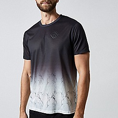Burton - Black and white marble fade t-shirt with HI build chest print