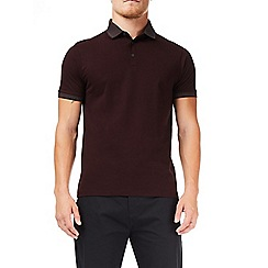 Burton - Burgundy jacquard collar polo shirt
