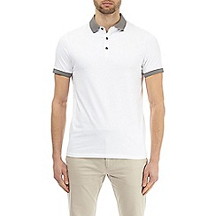 Burton - White Jacquard Collar Polo Shirt