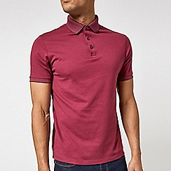 Burton - Raspberry pink jacquard collar polo shirt