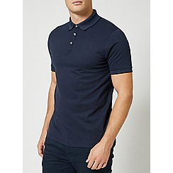 Burton - Navy jacquard collar polo shirt