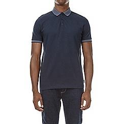 Burton - Navy jacquard collar polo shirt