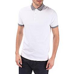 Burton - White jacquard collar polo shirt