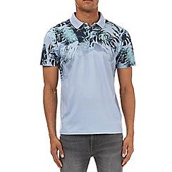 Burton - Blue texture floral fade polo shirt
